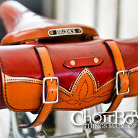 Leather Bicycle Handlebar or Saddle Bag by Choirbox on Etsy