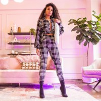 Women Black/White Plaid Sexy Two Piece Long Sleeve Button Up Top Pant Set