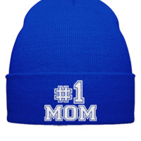 number one mom embroidery hat - Beanie Cuffed Knit Cap