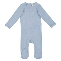 Lil Legs Unisex Baby Blue Ribbed Footie