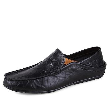 Genuine Leather Luxury Driving Slip On Flats Shoes