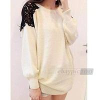 Lace Casual Loose Long Sleeve Sweet Knit Knitted Sweater Top Dress