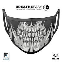Funny Cartoon Human Skull - Made in USA Mouth Cover Unisex Anti-Dust Cotton Blend Reusable & Washable Face Mask with Adjustable Sizing for Adult or Child