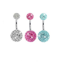 Fashion Lot of 3 Pieces Belly Ring Crystal Belly Button Rings-0601