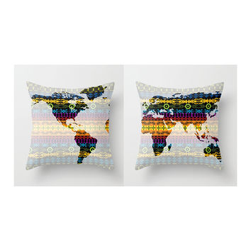 Set of Two Boho World Map Throw Pillows or Covers