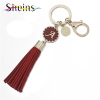 Skeins Jewelry 23 Word Name Initials couple keychain Charms Red Tassel Car chaveiro Enamel Key Chain Fashion Bag Accessories