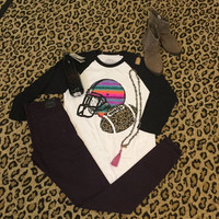 Serape & Leopard Football 3/4 length t-shirt
