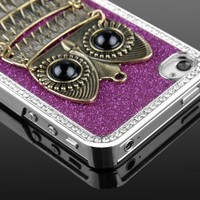 Pandamimi ULAK Pink Deluxe Chrome Glitter Bling Crystal Rhinestone Owl Hard Case Skin Cover for Apple iPhone 4 4S 4G With Front and Back Screen Protector Film