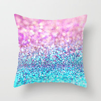 Pastel sparkle- photograph of pink and turquoise glitter Throw Pillow by Sylvia Cook Photography