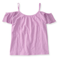 Kids' Lace Cold Shoulder Boxy Top