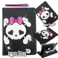 Jersey Bling® iPad Air Girly Punk SKULL Crystal & Rhinestone Faux Leather Case with Built In Stand & FREE Stylus