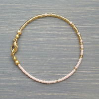 Simple + Stunning Seed Bead Friendship Bracelet // Gold + Peach Ombre // Stackable Bracelet // Customizable