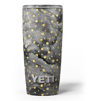 Black and Gold Watercolor Polka Dots - Skin Decal Vinyl Wrap Kit compatible with the Yeti Rambler Cooler Tumbler Cups