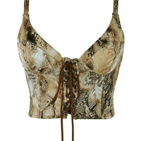 Animal Print Sleeveless Tie-Up Lace Cropped Top