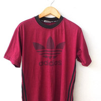 25% SALE ADIDAS Sport Big Logo Trefoil Couture Stripped Maroon Vintage 90's Hip Hop Rap Sportswear Tee T shirt M