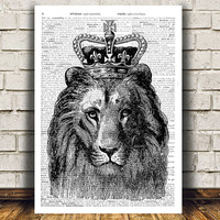 Lion print Dictionary art Animal poster Modern print RTA500