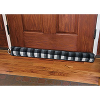 Heavy Duty Fleece Draft Blocker - Save Energy - Keep The Cold Out - 36-in (Black Plaid)