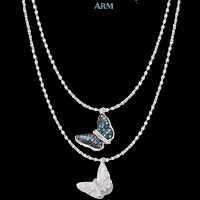 Necklace | Butterly | Abalone Shell | CZ Diamond | Stainless Steel Cable Chain