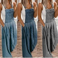 Large size women's suspenders thin loose loose denim overalls