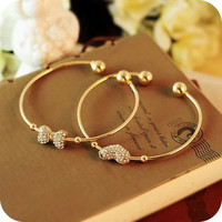 Gold Plated Crystal Bowknot Heart Bangle Bracelet Women Jewelry