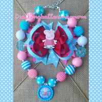 Peppa Pig Hair Bow - Peppa Pig Headband - Chunky Bubblegum Necklace - Toddler Girl Necklace Set - Peppa Costume - Birthday - Chevron - Pink