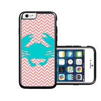 RCGrafix Brand Crab Coral Micro Chevron iPhone 6 Case - Fits NEW Apple iPhone 6
