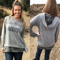 """""""City Roots in Boots"""" Women's Hoodie with Camo Details"""