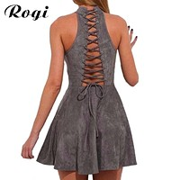 Rogi Sexy Backless Lace Up Bandage Dress 2017 Summer Casual A-Line Dresses Robe Off Shoulder Party Sarafan Vestidos largos Mujer