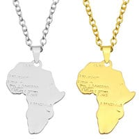 Africa Necklace - Gold, Silver or Rhinestone | Africa shaped Jewelry & Accessories