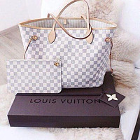 LV Louis Vuitton Women Leather Handbag Shoulder Bag Crossbody Purse Wallet Set two Piece White