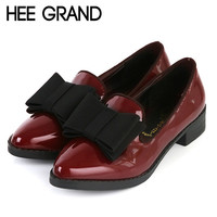 New Spring Platform Women Oxfords With Bowtie Patent Leather Brogue Shoes Woman Pointed Toe Slip On Ladies Flats XWD2527