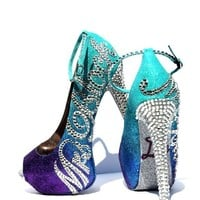 Personalized Aqua Purple Ombre Glitter Peep Toe Heels