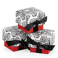 Hortense B. Hewitt Wedding Accessories Favor Boxes, Black and White Filigree with Red, 25-Pack