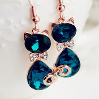 Fashion Accessories Dark Green Crystal Small Cat Earrings Jewelry = 1929780676