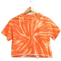 NEON COLLECTION: Tangerine Tie-Dye Unisex Cropped Tee