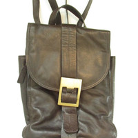 Vintage 1990s Brown Leather Buckle Mini Backpack Purse