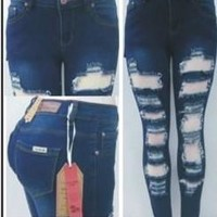 patch ripped skinny jean
