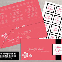 DIY Printable Wedding Boarding Pass Sleeve and 2 x 2 Seal Template | Editble MS Word file | Instant Download | Hawaii Dark Coral Pink