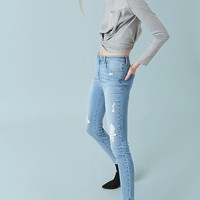 Sculpted Mid-Rise Skinny Jeans