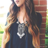 Gypsy Bohemian Boho Jewelry Antique Silver Tassels Long Carving Coin Necklace For Women Jewelry 3143