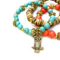 Owl Bracelet Owl Charm Bracelet Childs Bracelet Little Girl Bracelets Beaded Bracelet Set Turquoise Orange Wood Beads Little Girls Gift