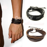Braided Rope Genuine Leather Multilayer Bracelet