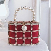 Pearl Diamond Basket Clutch Bag Luxury Hollow Out Pearl Beaded Metallic Cage