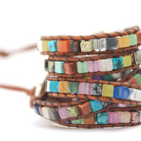 Leather wrap bracelet. Surprise leather bracelet (one layer). Mix of gemstones . Summer jewelry. Autumn colors. WSC1v001