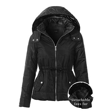 Quilted Zip Up Puffer Jacket with Detachable Faux Fur Hood