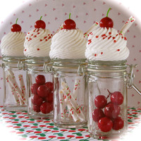"""Cherry Cupcake Jar Collection Set of 4 Signature 12 Legs Curiosities """"Crazy About The Cherries Series"""" Fab Birthday Favor and Decor Idea"""