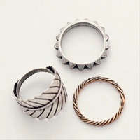 Boho Vintage Silver Leaf Ring Set