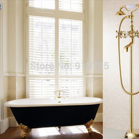 Golden full brass freestanding bathtub fucet clawfoot tub floor stand shower faucet SOJ-002-759