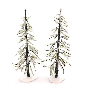 Christmas FROZEN TREES SET / 2 Polyresin Accessory Icy Ice 339202