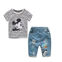 2018 New Infant Boys Girls Summer Cartoon Mickey Striped T Shirt + Denim Shorts Clothes Sets Children Kids Hole Jeans Clothing